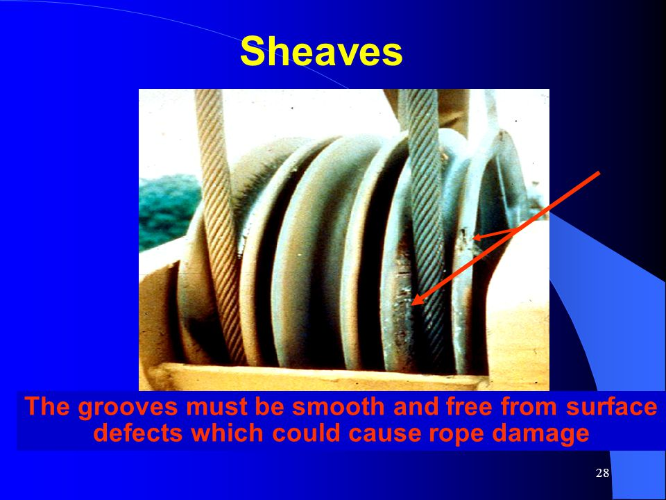 28 The grooves must be smooth and free from surface defects which could cause rope damage Sheaves