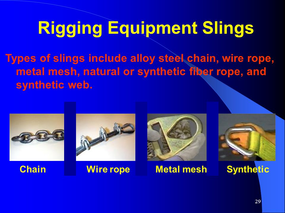 29 Rigging Equipment Slings Types of slings include alloy steel chain, wire rope, metal mesh, natural or synthetic fiber rope, and synthetic web. Chai