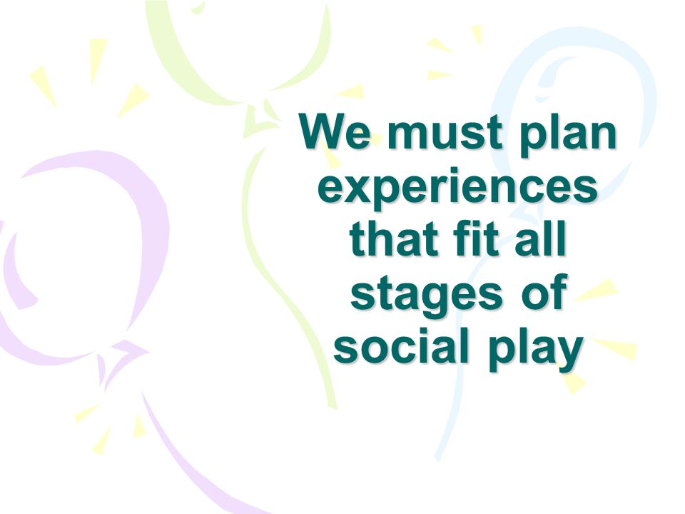Stages of Social Play Parten Solitary Play Parallel Play Onlooker Play Associative Play Cooperative Play