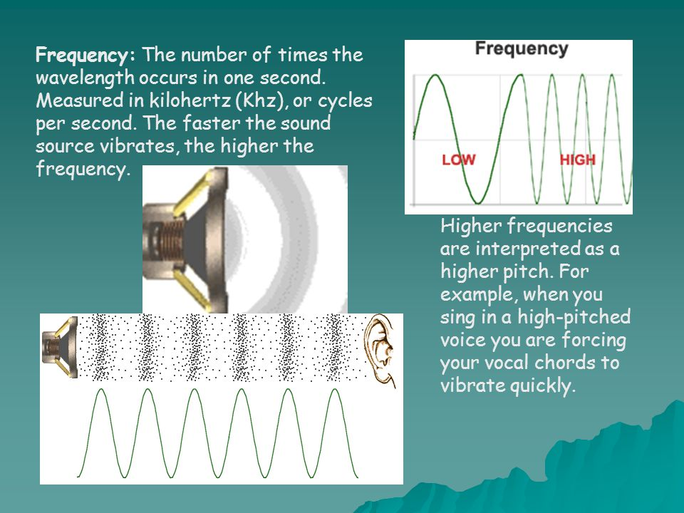 Frequency: The number of times the wavelength occurs in one second. Measured in kilohertz (Khz), or cycles per second. The faster the sound source vib