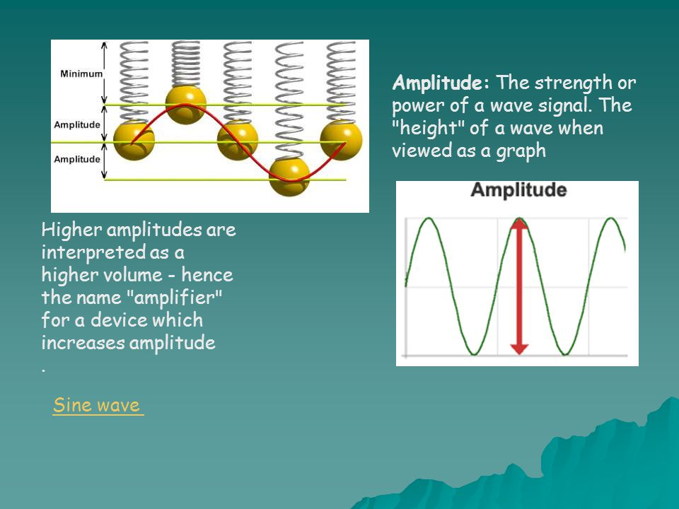 Amplitude: The strength or power of a wave signal.