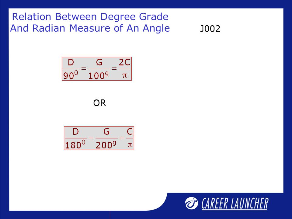 Relation Between Degree Grade And Radian Measure of An Angle OR J002
