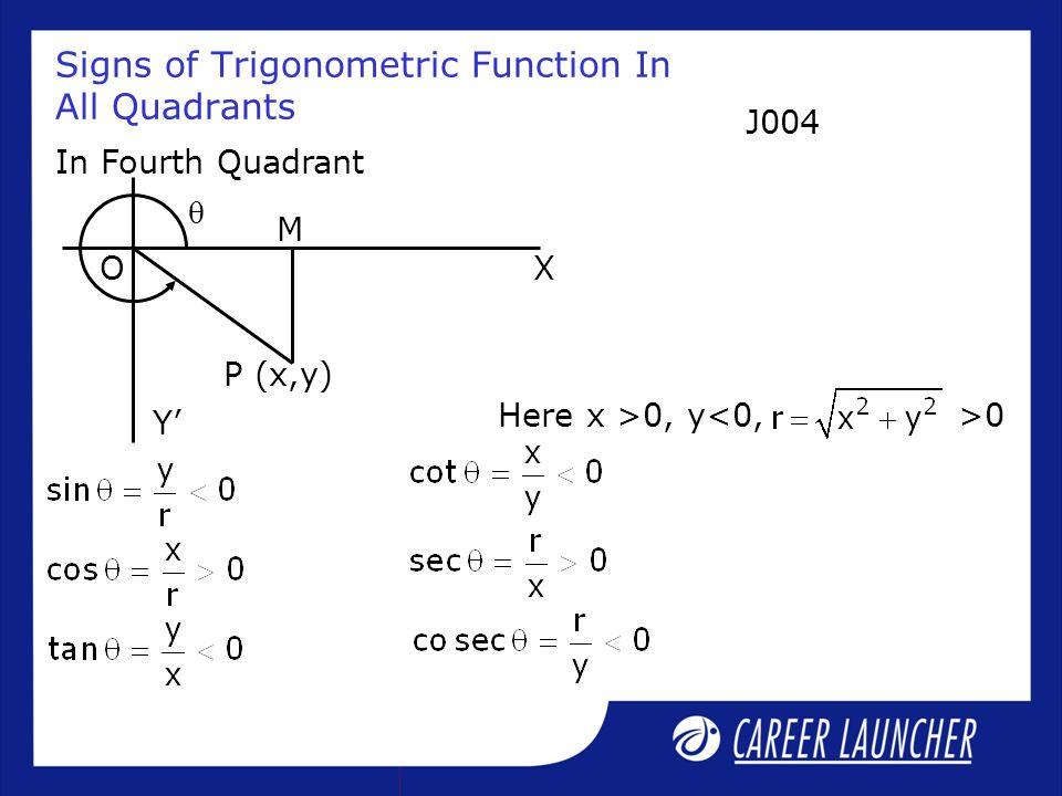 Signs of Trigonometric Function In All Quadrants In Fourth Quadrant Here x >0, y<0,>0  XO P (x,y) Y' M J004