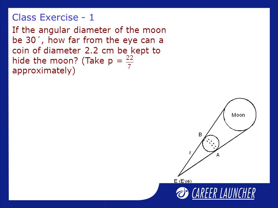 Class Exercise - 1 If the angular diameter of the moon be 30´, how far from the eye can a coin of diameter 2.2 cm be kept to hide the moon? (Take p =