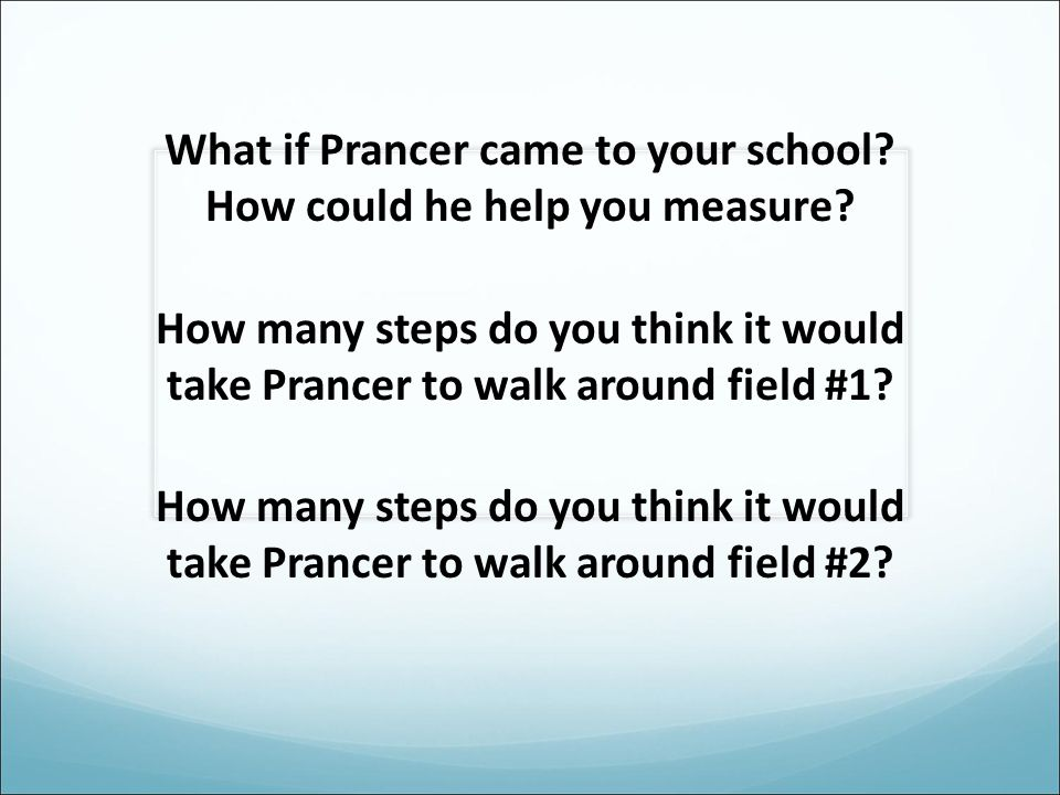 What if Prancer came to your school.How could he help you measure.