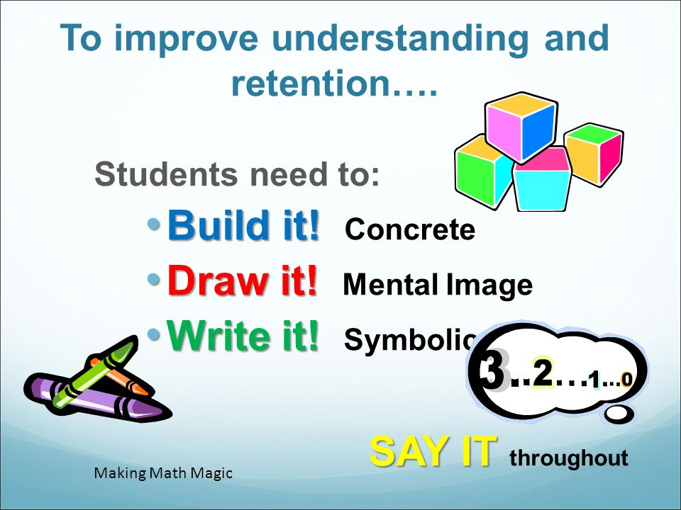 To improve understanding and retention….Students need to: Build it.