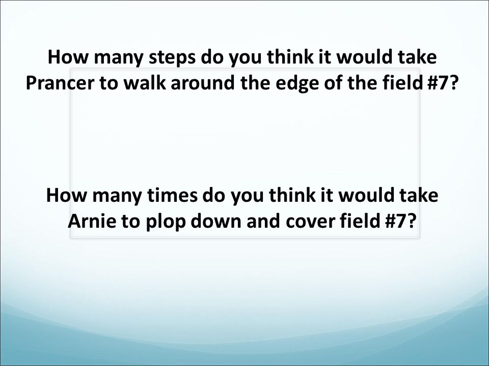 How many steps do you think it would take Prancer to walk around the edge of the field #7.