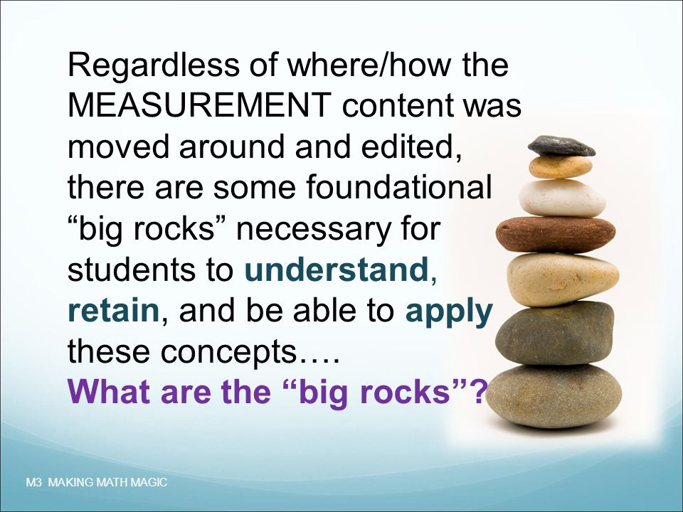 Regardless of where/how the MEASUREMENT content was moved around and edited, there are some foundational big rocks necessary for students to understand, retain, and be able to apply these concepts….