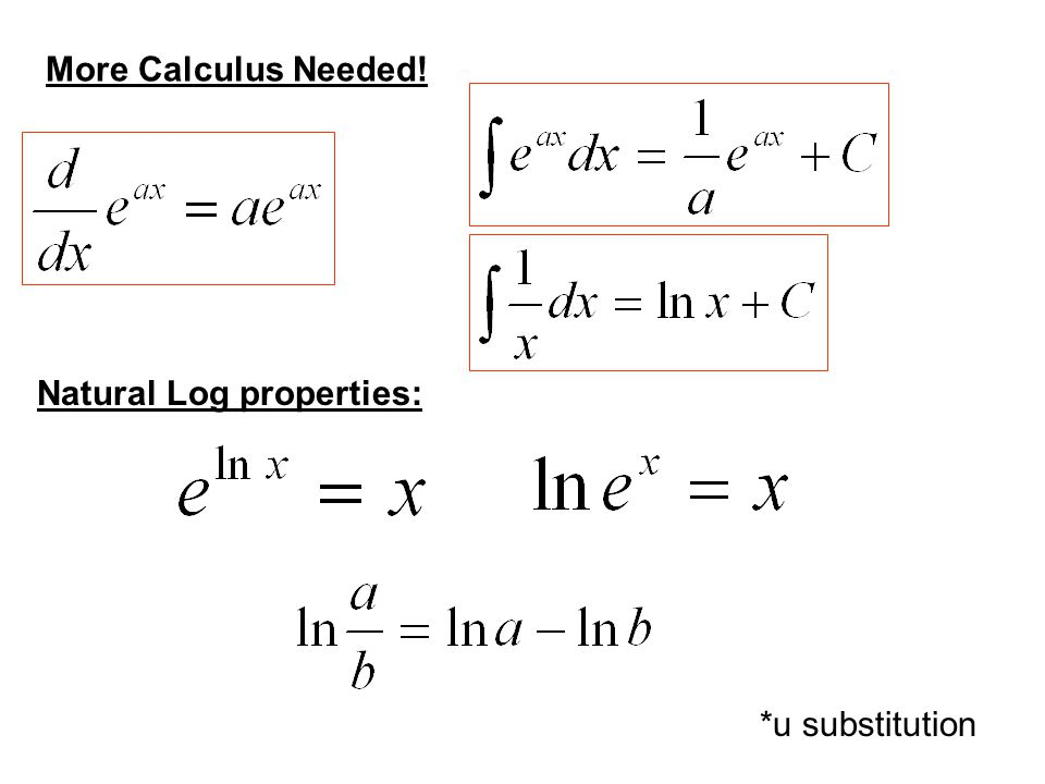 More Calculus Needed! *u substitution Natural Log properties: