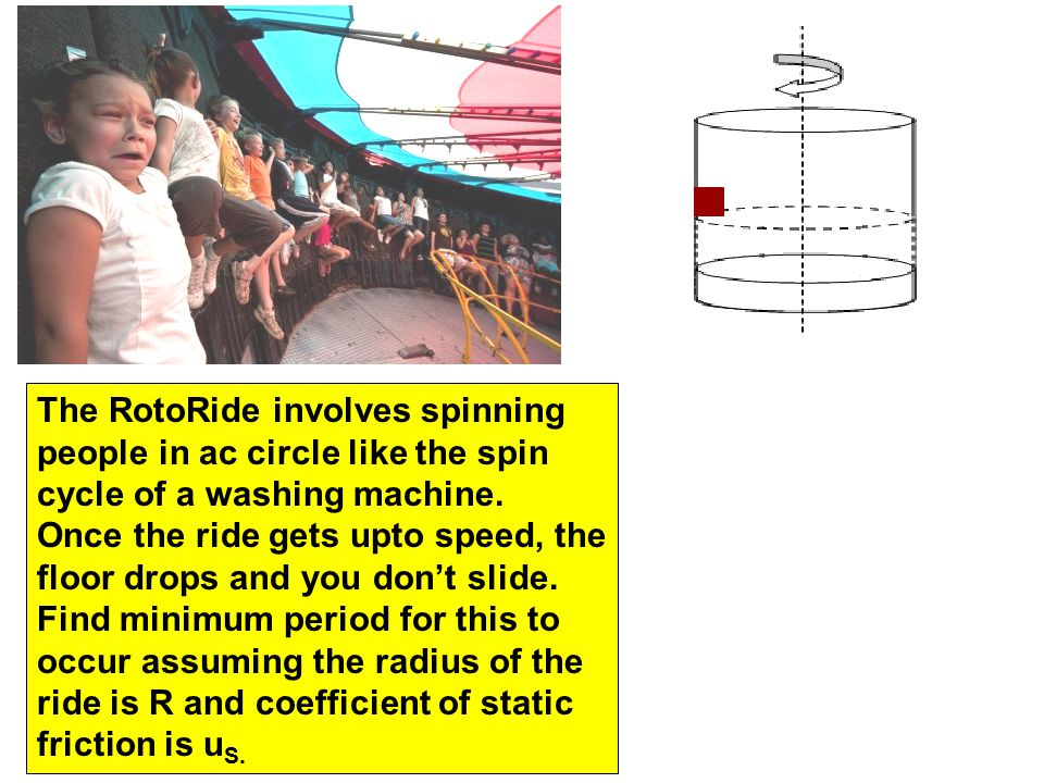 The RotoRide involves spinning people in ac circle like the spin cycle of a washing machine. Once the ride gets upto speed, the floor drops and you do