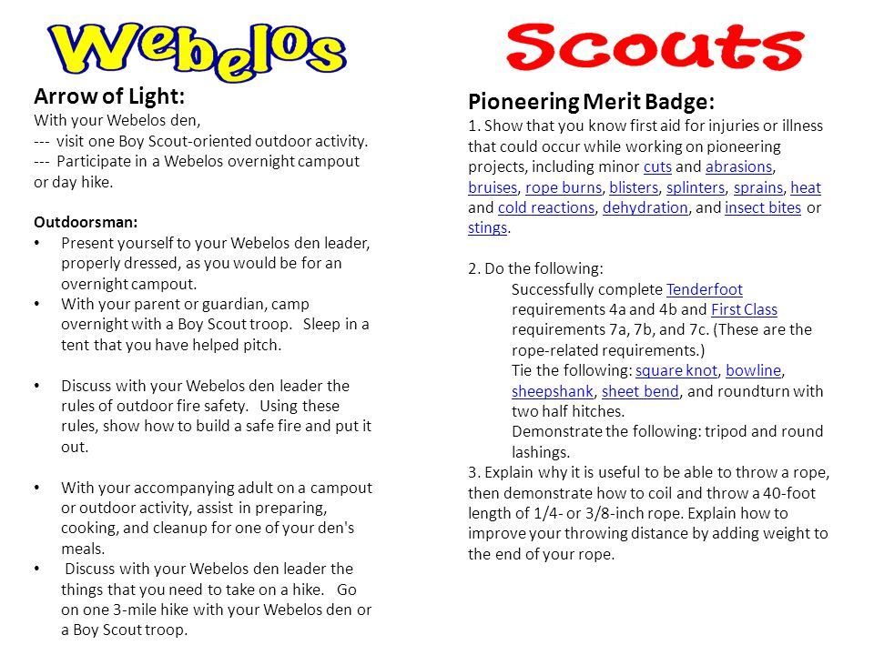 Arrow of Light: With your Webelos den, --- visit one Boy Scout-oriented outdoor activity.