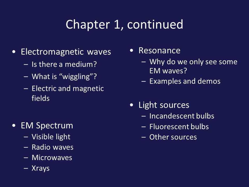 Chapter 1, continued Electromagnetic waves –Is there a medium.