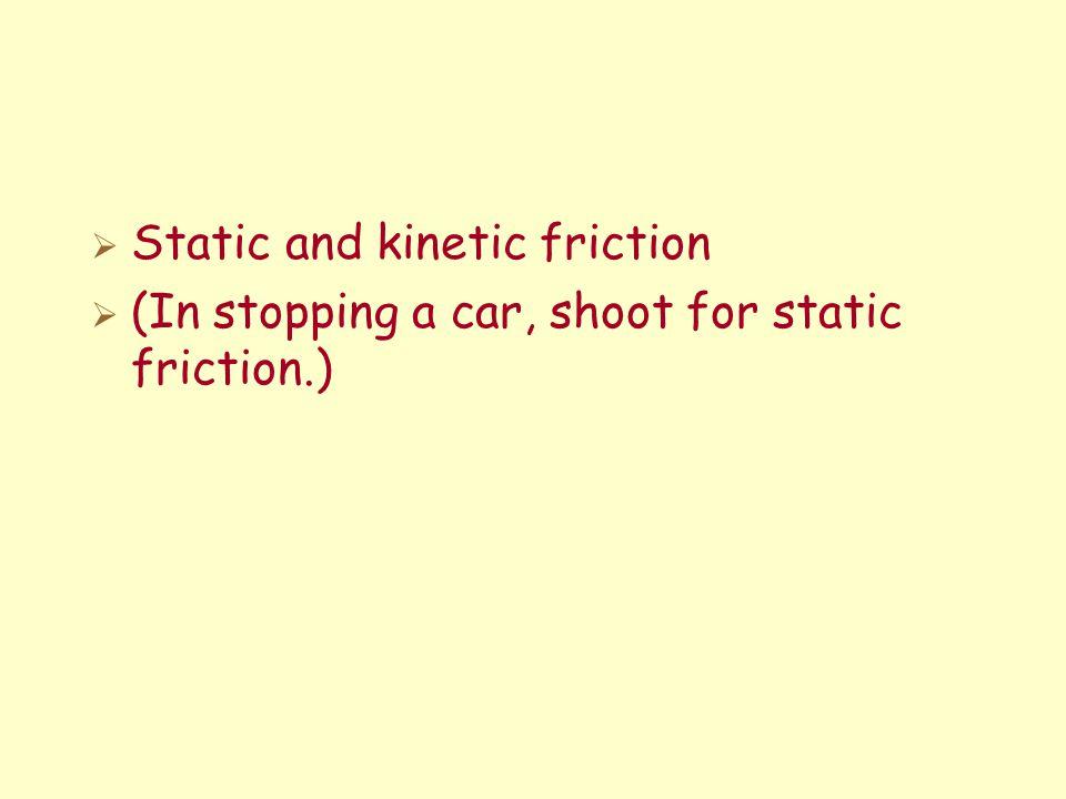 On the verge of slipping FAFA Sliding F FAFA F F FAFA FAFA FAFA Maximum Static Friction Applied Force, F A Friction, F Sliding (Kinetic) Friction F