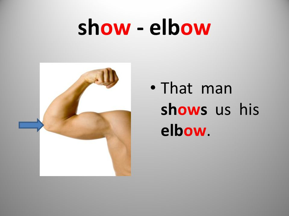 show - elbow That man shows us his elbow.