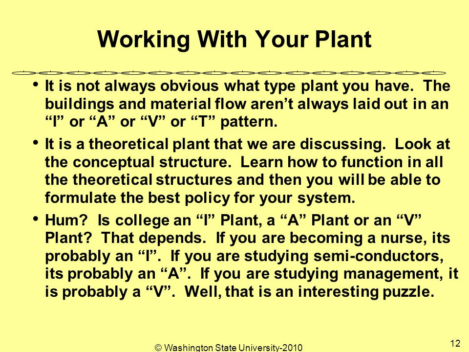 © Washington State University-2010 12 Working With Your Plant It is not always obvious what type plant you have.