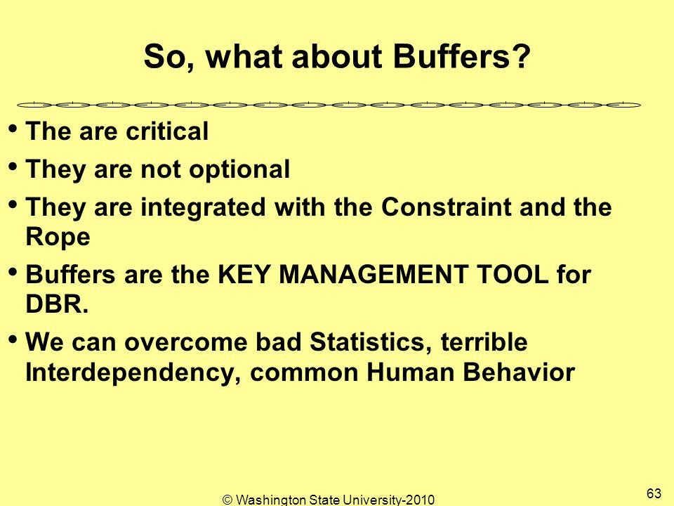 © Washington State University-2010 63 So, what about Buffers.
