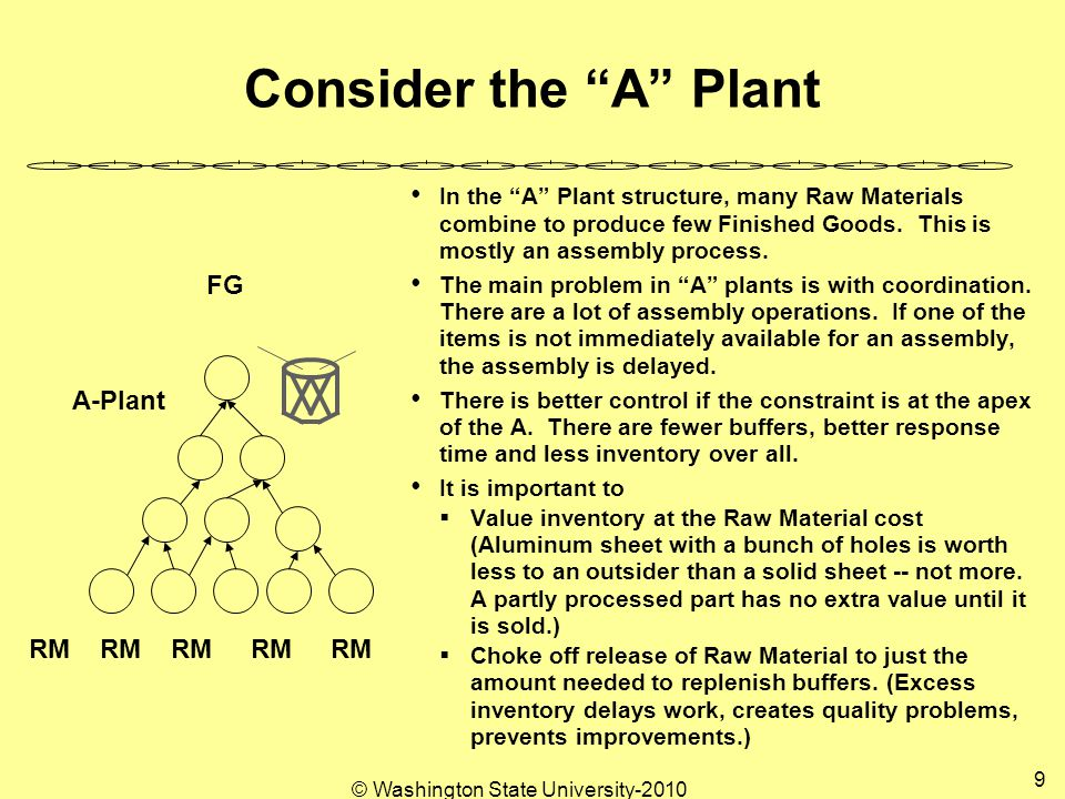 © Washington State University-2010 9 Consider the A Plant In the A Plant structure, many Raw Materials combine to produce few Finished Goods.