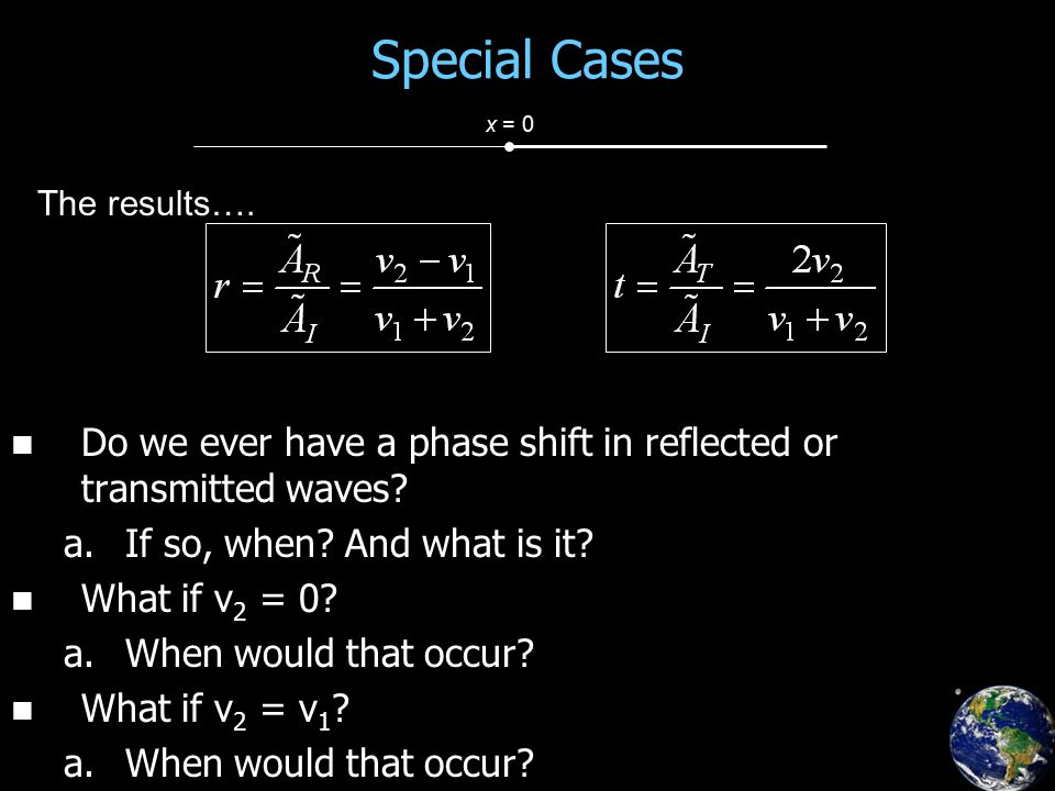 Special Cases Do we ever have a phase shift in reflected or transmitted waves.