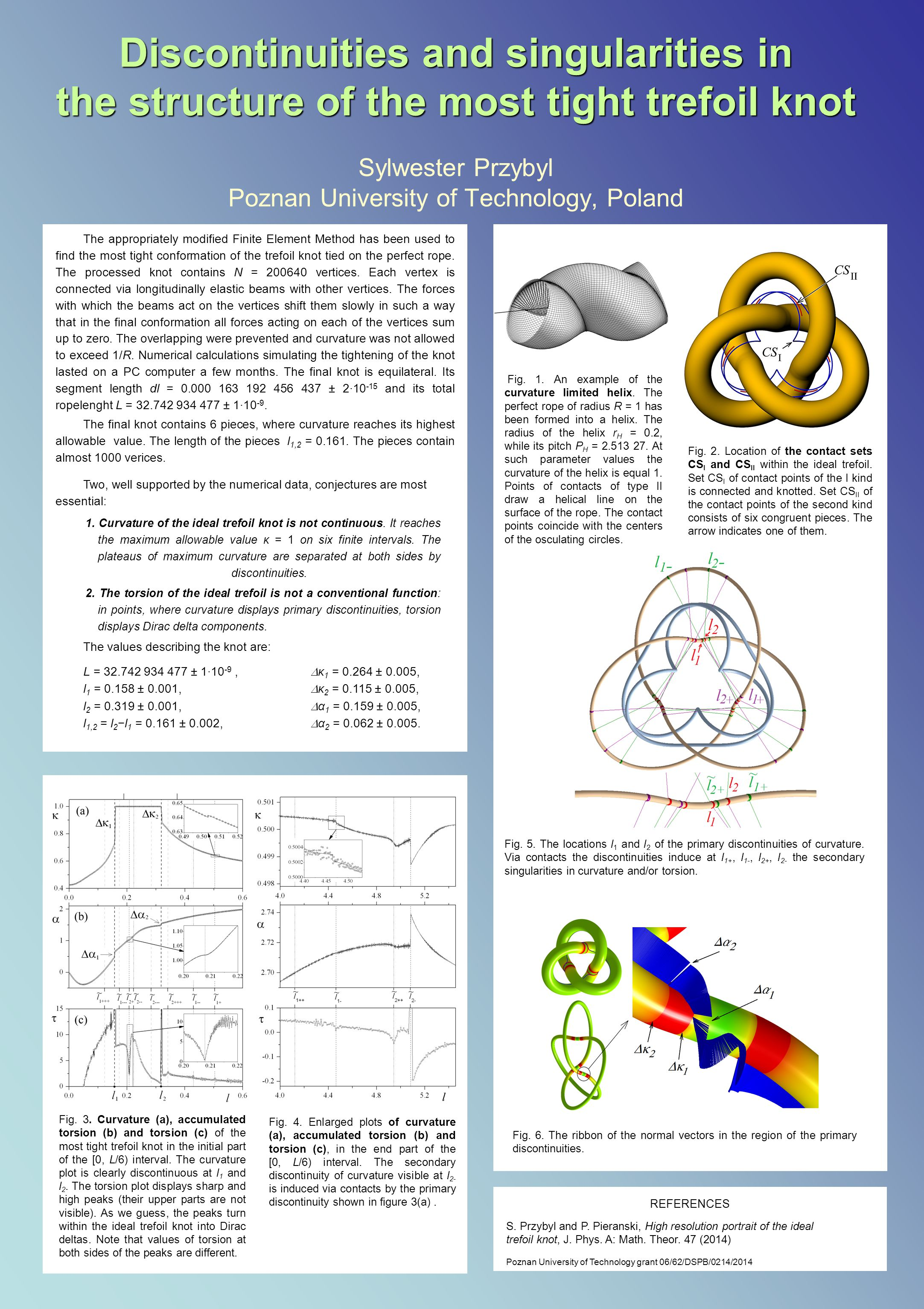 Discontinuities and singularities in the structure of the most tight trefoil knot Discontinuities and singularities in the structure of the most tight