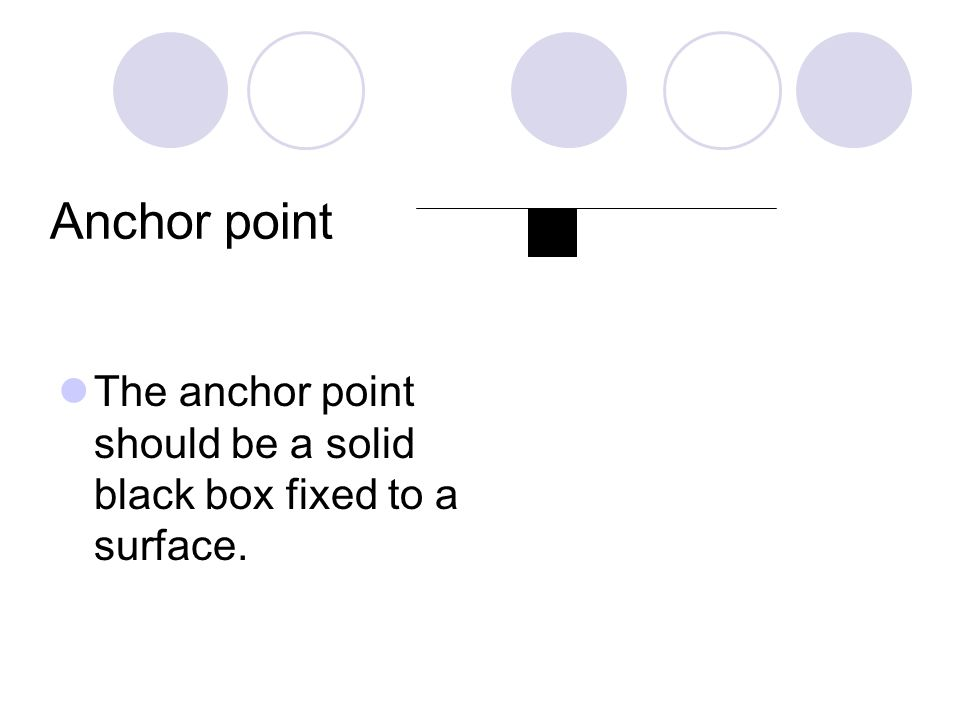 Anchor point The anchor point should be a solid black box fixed to a surface.