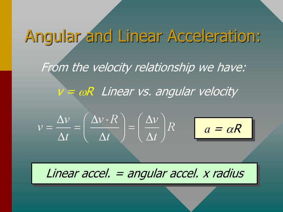 Angular and Linear Speed From the definition of angular displacement: s =  R Linear vs. angular displacement v =  R Linear speed = angular speed x
