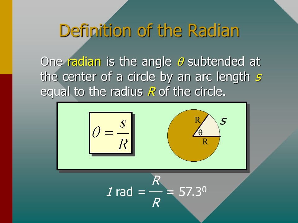 Rotational Displacement,  Consider a disk that rotates from A to B: A B  Angular displacement  : Measured in revolutions, degrees, or radians. 1 re