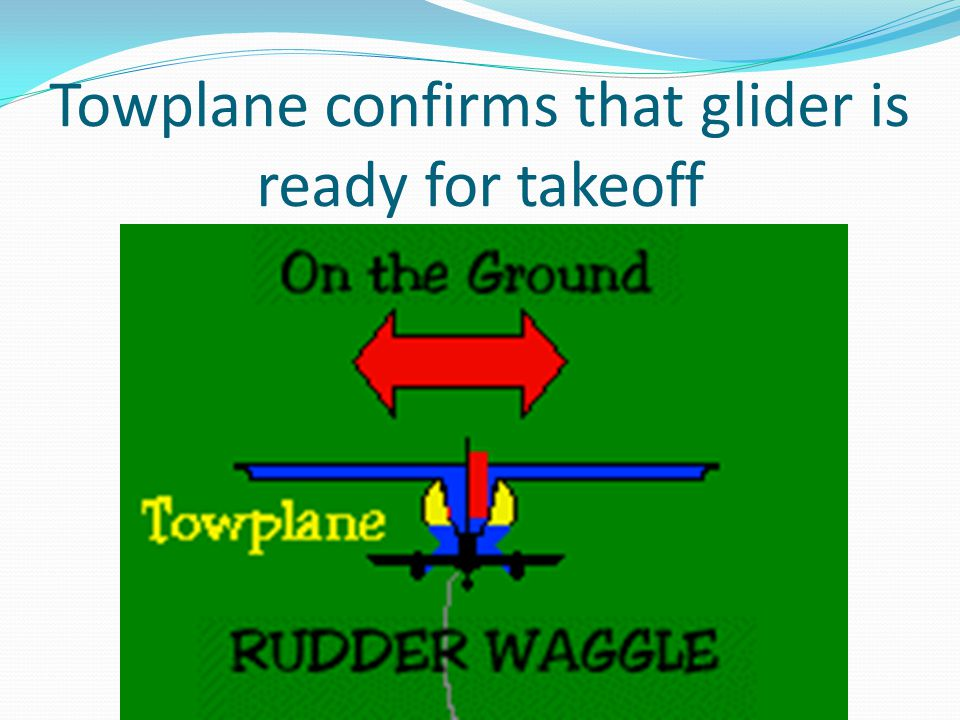 Towplane confirms that glider is ready for takeoff