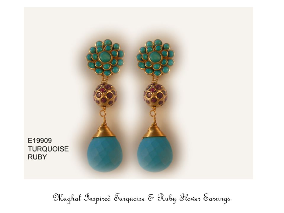 Mughal Flower Earrings in Turquoise & White Agate