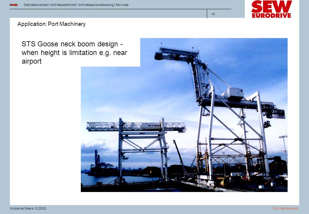 Application: Port Machinery Getriebemotoren \ Antriebselektronik \ Antriebsautomatisierung \ Services Driving the worldIndustrial Gears.10.2003 14 STS
