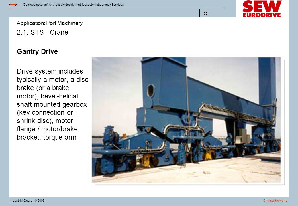 Application: Port Machinery Getriebemotoren \ Antriebselektronik \ Antriebsautomatisierung \ Services Driving the worldIndustrial Gears.10.2003 33 2.1