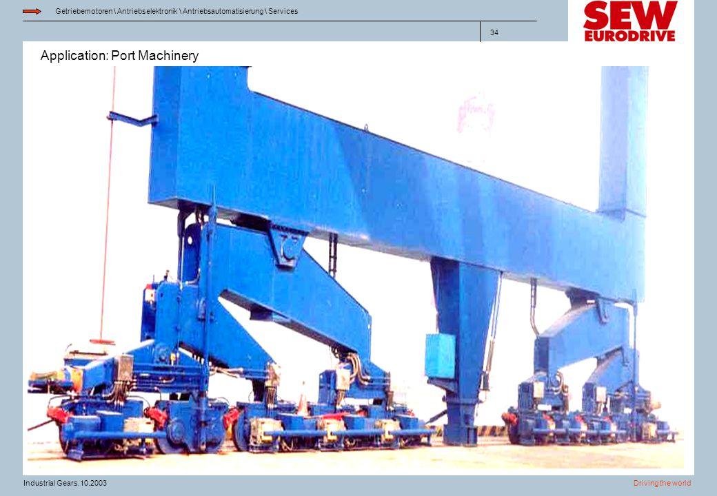 Application: Port Machinery Getriebemotoren \ Antriebselektronik \ Antriebsautomatisierung \ Services Driving the worldIndustrial Gears.10.2003 34