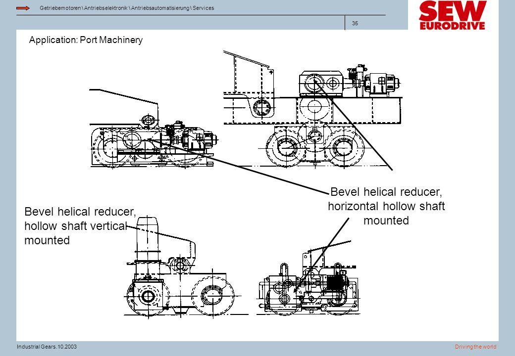 Application: Port Machinery Getriebemotoren \ Antriebselektronik \ Antriebsautomatisierung \ Services Driving the worldIndustrial Gears.10.2003 35 Bev