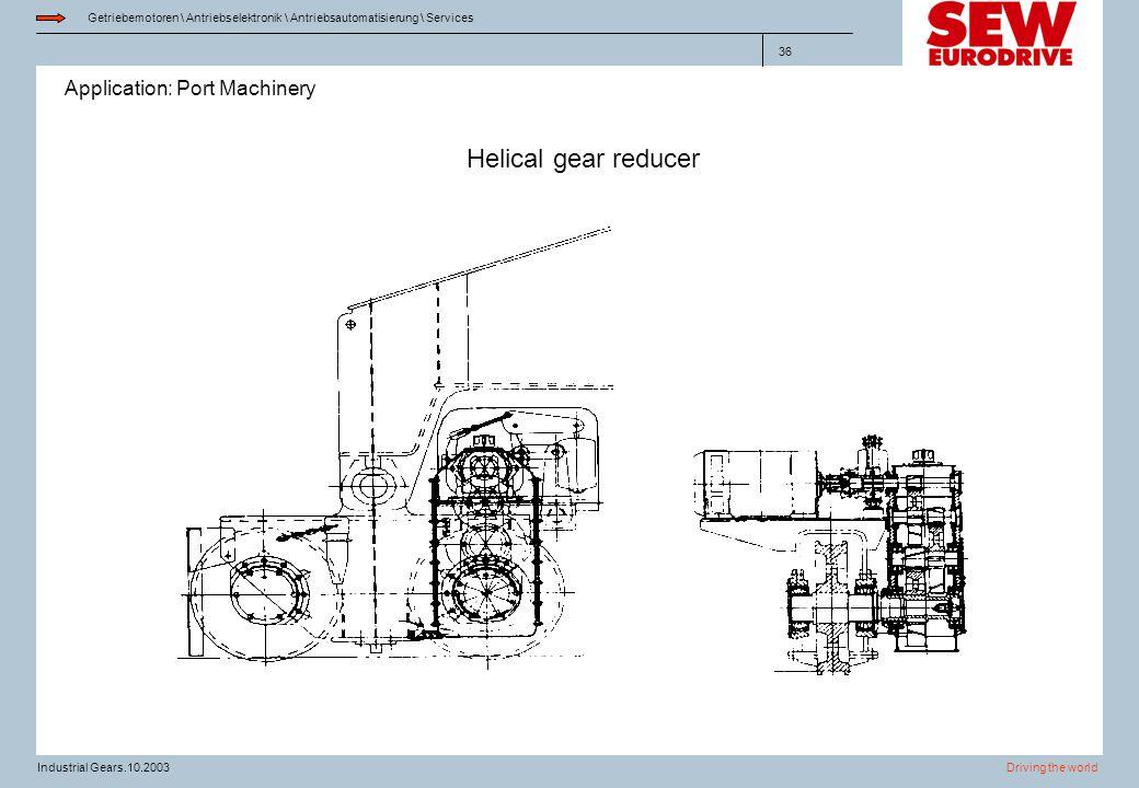 Application: Port Machinery Getriebemotoren \ Antriebselektronik \ Antriebsautomatisierung \ Services Driving the worldIndustrial Gears.10.2003 36 Hel