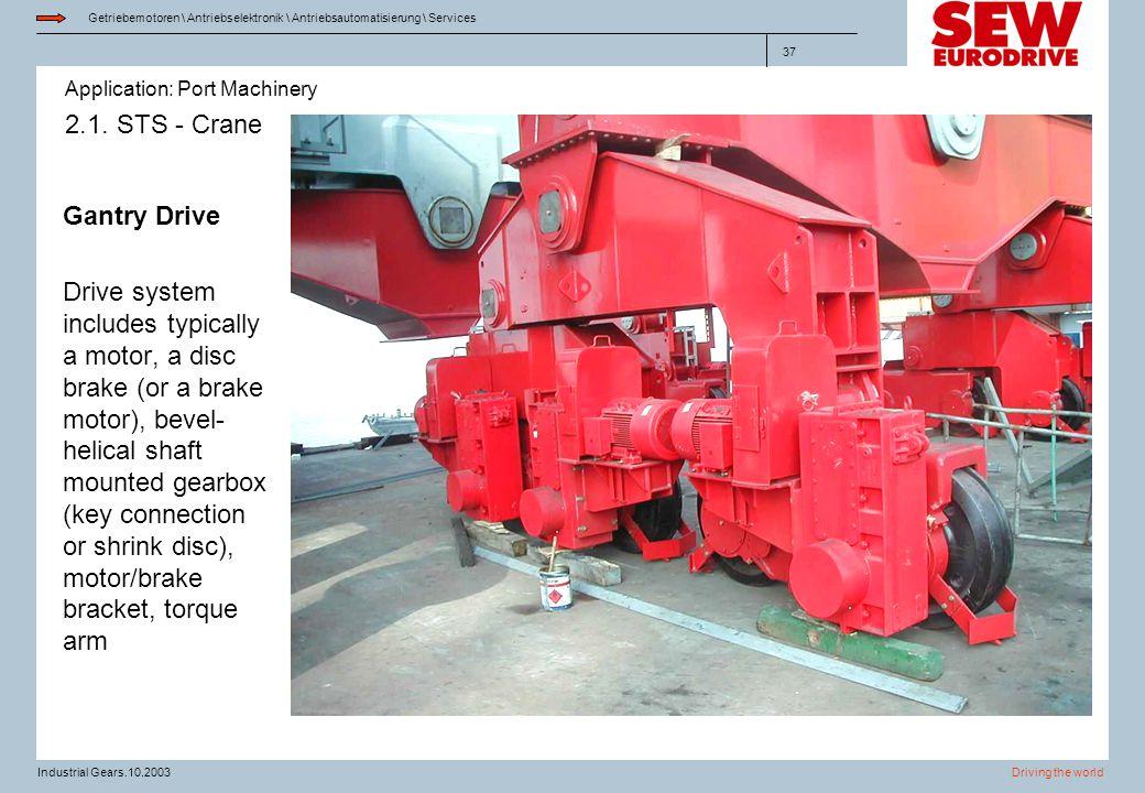 Application: Port Machinery Getriebemotoren \ Antriebselektronik \ Antriebsautomatisierung \ Services Driving the worldIndustrial Gears.10.2003 37 2.1