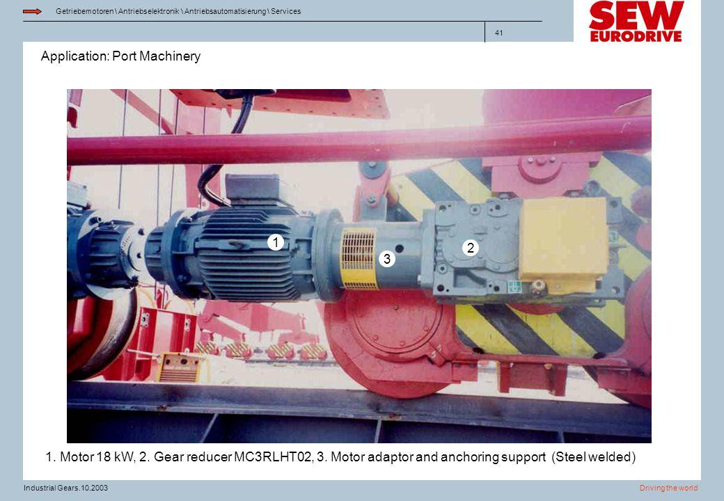 Application: Port Machinery Getriebemotoren \ Antriebselektronik \ Antriebsautomatisierung \ Services Driving the worldIndustrial Gears.10.2003 41 1.