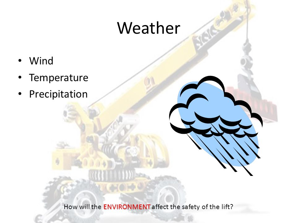 Weather Wind Temperature – Chain and wire rope affected below -40° F – Synthetic affected above 190° F – Wire rope affected above 300° F – Chain affec