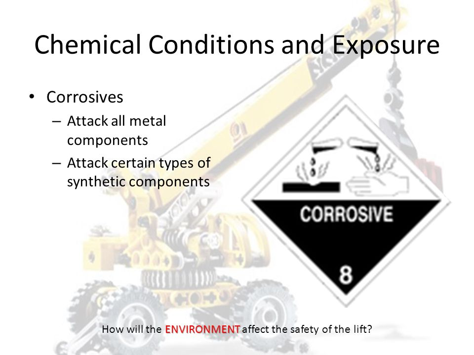 Terrain Level Dry Stable – Wet / Mud – Frozen ENVIRONMENT How will the ENVIRONMENT affect the safety of the lift?