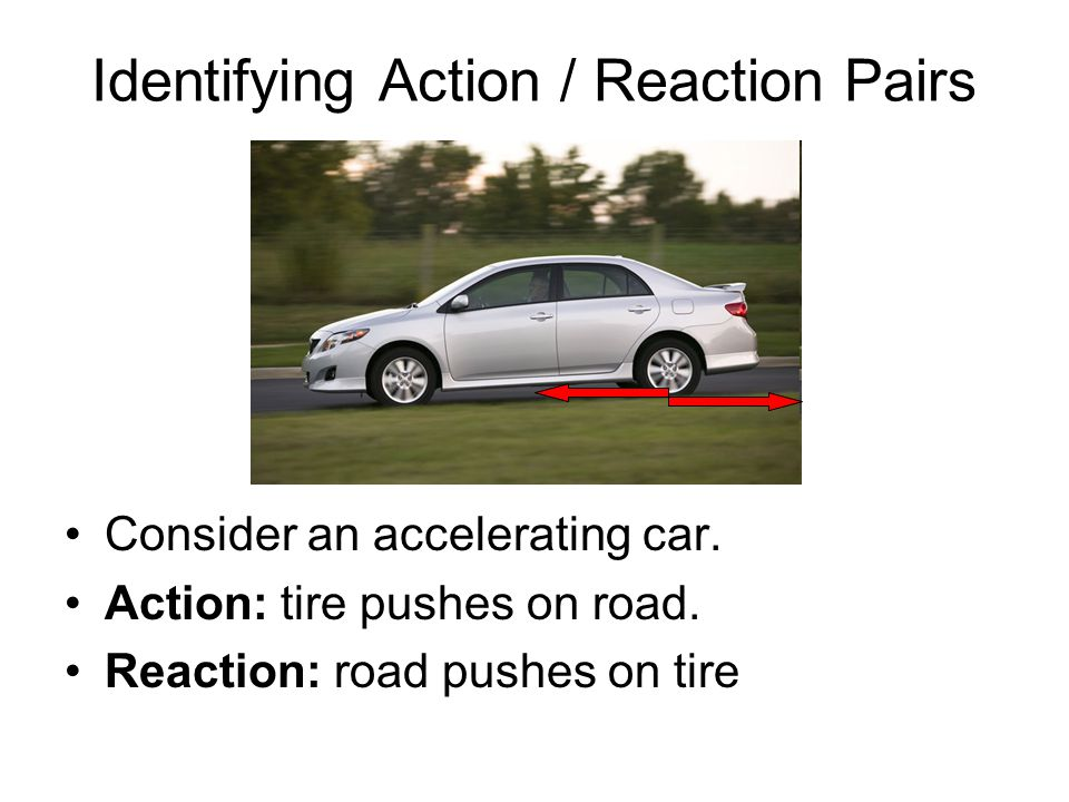 Identifying Action / Reaction Pairs Consider an accelerating car.