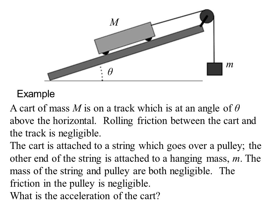 Example A cart of mass M is on a track which is at an angle of θ above the horizontal.