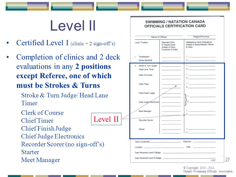 © Copyright 2010 - 2014 Ontario Swimming Officials' Association 27 Level II Certified Level I (clinic + 2 sign-off's) Completion of clinics and 2 deck evaluations in any 2 positions except Referee, one of which must be Strokes & Turns Stroke & Turn Judge/ Head Lane Timer Clerk of Course Chief Timer Chief Finish Judge Chief Judge Electronics Recorder Scorer (no sign-off's) Starter Meet Manager Level II