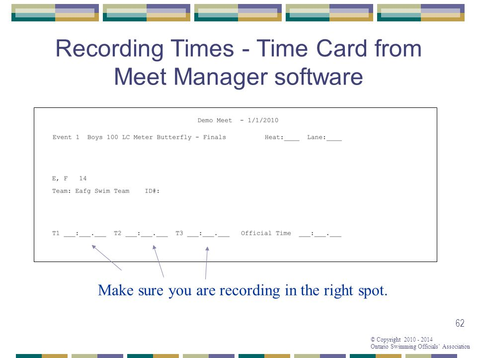 © Copyright 2010 - 2014 Ontario Swimming Officials' Association 62 Recording Times - Time Card from Meet Manager software Make sure you are recording in the right spot.