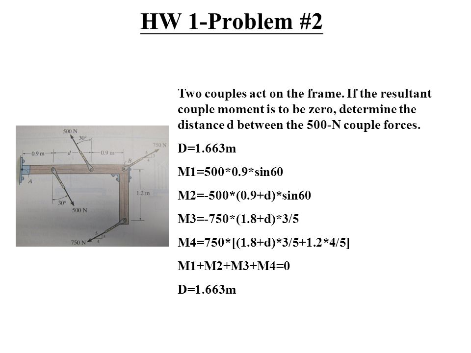 HW 1-Problem #2 Two couples act on the frame.