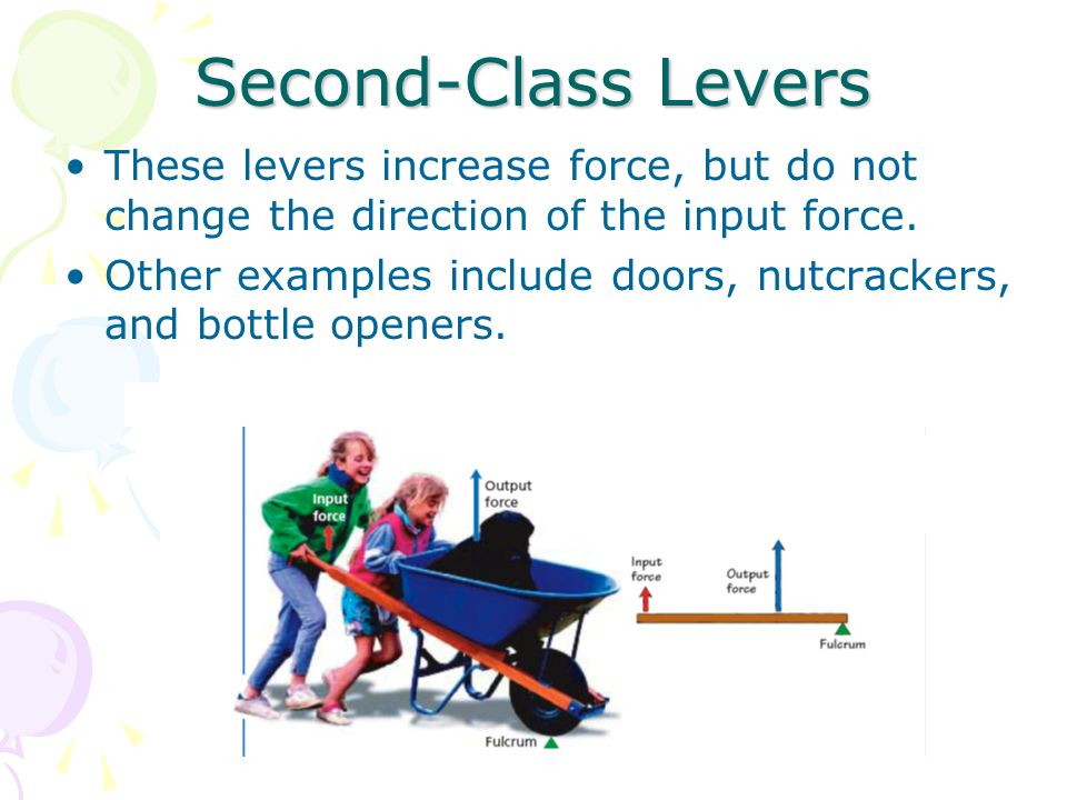 Second-Class Levers These levers increase force, but do not change the direction of the input force. Other examples include doors, nutcrackers, and bo