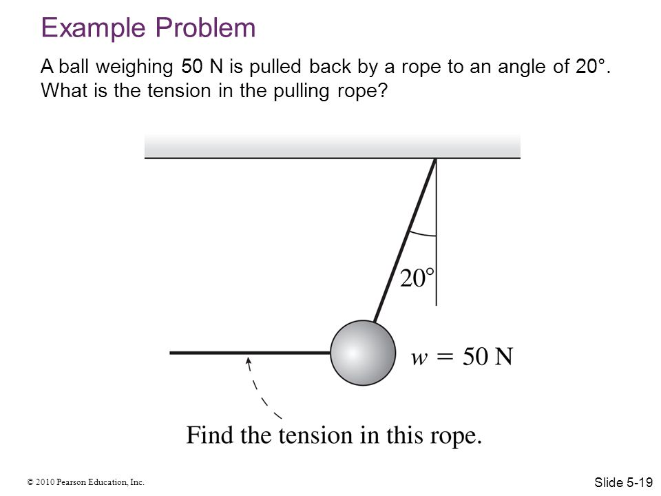 © 2010 Pearson Education, Inc. Example Problem A ball weighing 50 N is pulled back by a rope to an angle of 20°. What is the tension in the pulling ro