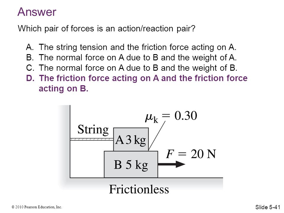 © 2010 Pearson Education, Inc. Answer A.The string tension and the friction force acting on A. B.The normal force on A due to B and the weight of A. C