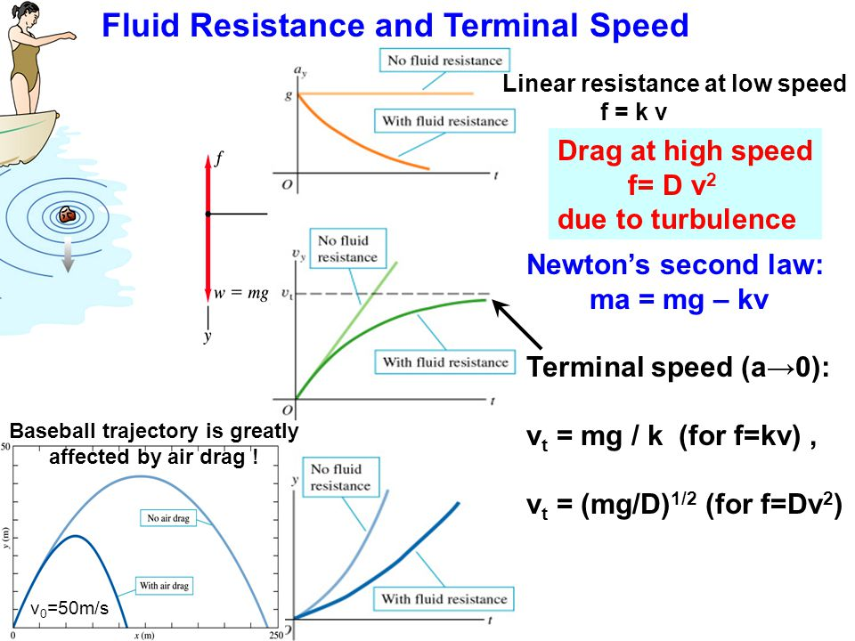 Fluid Resistance and Terminal Speed Linear resistance at low speed f = k v Drag at high speed f= D v 2 due to turbulence Newton's second law: ma = mg