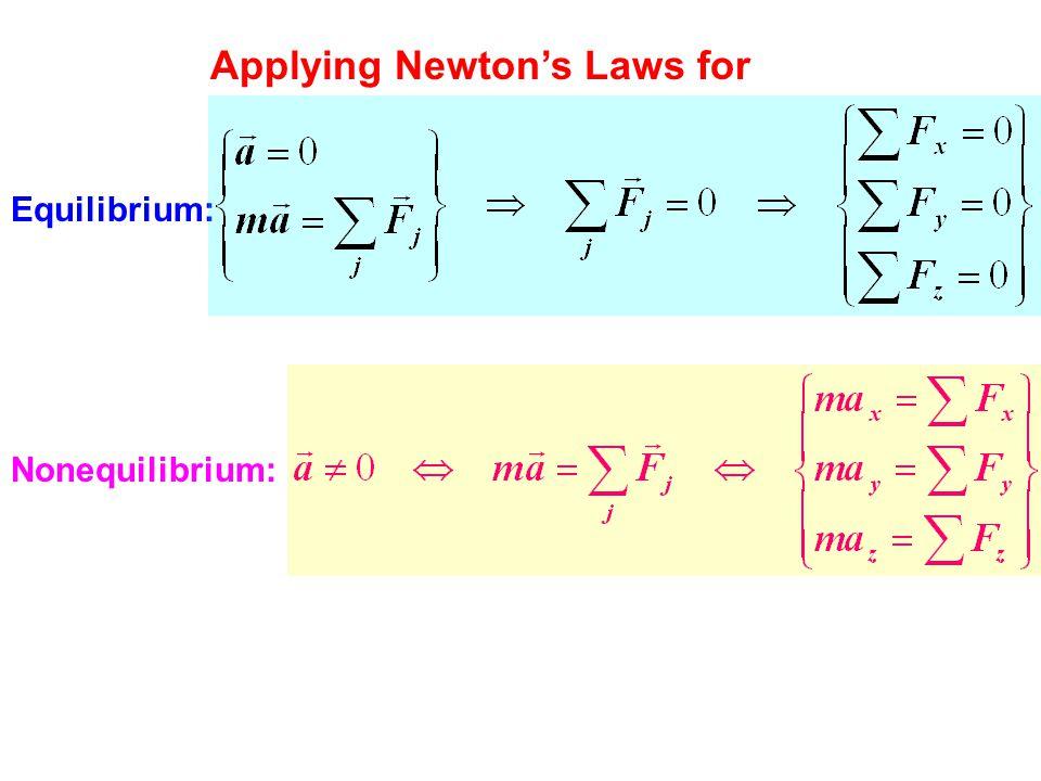 Applying Newton's Laws for Equilibrium: Nonequilibrium: