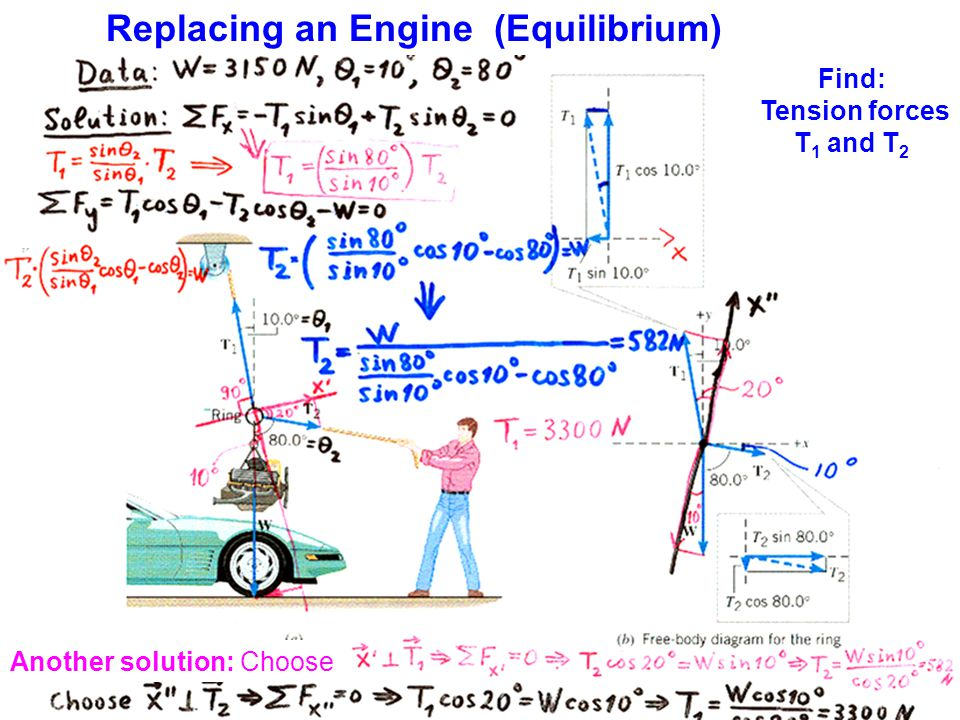 Replacing an Engine (Equilibrium) Another solution: Choose Find: Tension forces T 1 and T 2