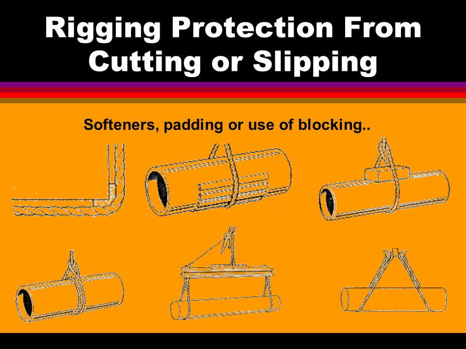 Rigging Protection From Cutting or Slipping Softeners, padding or use of blocking..
