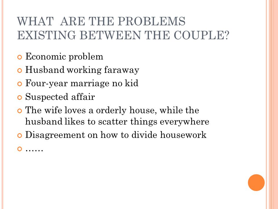 WHAT ARE THE PROBLEMS EXISTING BETWEEN THE COUPLE.